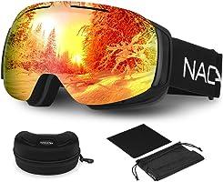 NACATIN Lunette de Ski OTG pour Homme et Femme, Masque de Ski, Anti-Buée, Coupe-Vent, Lunettes de Snowboard,Anti-Reflets 100% Protection UV400