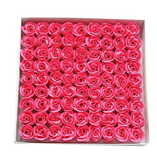 TININNA Lot de 81savons en forme de rose – savons parfumés à la rose dans une boîte cadeau – pour un mariage, la Saint-Valentin