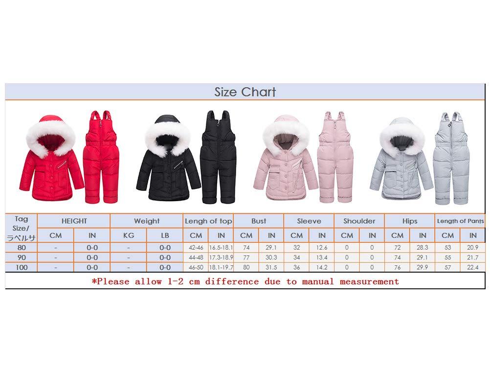 Skijakkeset Niña Abrigo Esquí de Nieve Gruesa Conjunto Ropa de Plumas Capucha + Pantalón con Peto Jumpsuit 2 Piezas 0-3… 2