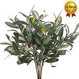 Nahuaa 4pcs Künstliche olivenzweig simulation pflanzen dekoration vasen künstliche pflanzen grüne blätter kunststoff büro dekoration innen und außen garten