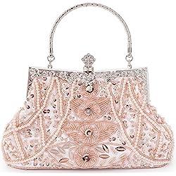 Damen Tasche Clutch pink Handtasche Abendtasche Schultertaschen Umhängetasche Brauttasche mit Perlen Pailletten Schulterketten Geschenk für Frauen Glitzer Retro Party Hochzeit Theater LONGBLE