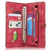 INFLATION iPhone/Samsung Leder Handytasche Case Hülle Geldbörse mit Kartenfach abnehmbar Magnet Handy Schutzhülle für Samsung Galaxy S7 Edge in Rot