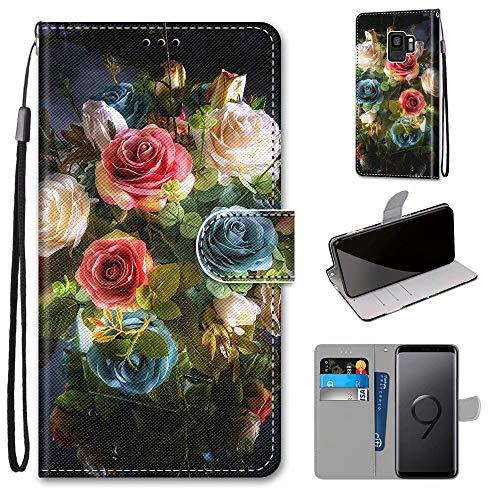 Miagon Flip PU Leder Schutzhülle für Samsung Galaxy S9,Bunt Muster Hülle Brieftasche Case Cover Ständer mit Kartenfächer Trageschlaufe,Blühen Blume