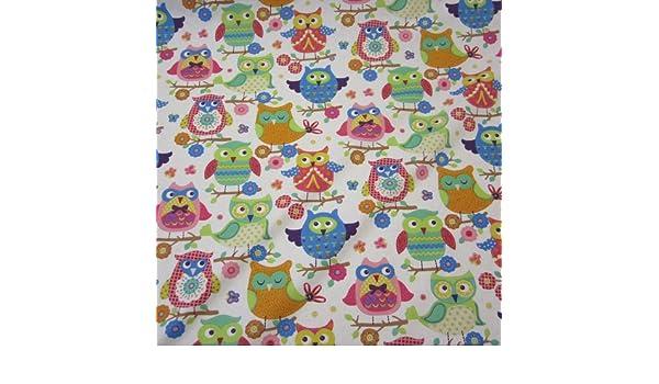 Hiboux Blanc Patchwork substances coton substances enfants Owls patchwork rideau substances