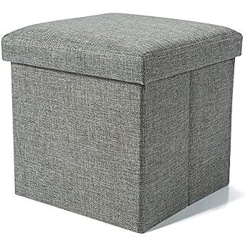 Linen Fabric Folding Storage Ottoman Box Seat Foot Stool