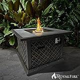 royalfire rfjc38510gf-bs quadratisch Fiberglas Gas Fire Pit–schwarz Stein