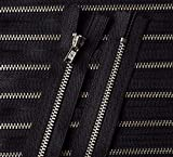 Reißverschluß Metall 8 cm schwarz silber