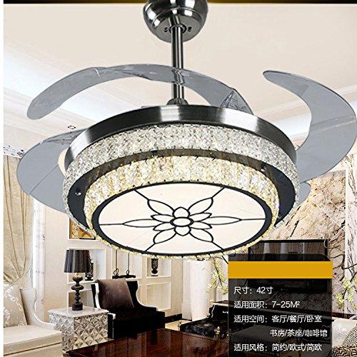 Xuanytp lampada di cristallo moderna/luce ventilatore invisibile/mute ristorante, luce fan 42 pollici
