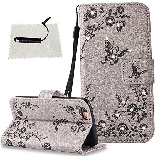 iphone 6 Hülle Schwarz iphone 6S / iphone 6 Flip Case TOCASO iphone 6S Hülle Tasche Wallet Case Handyhülle für iphone 6S / iphone 6 Etui KlappHülle Stand und Kartenfächer -Schmetterlinge Grau