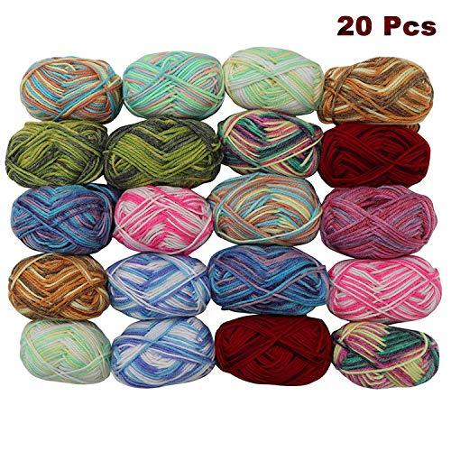 Kurtzy uncinetto lana - 20 pezzi (25gx 75m) lana multicolore, lavoro a maglia filato - assortimento acrilico soffice lana gomitoli - lavoro a maglia per maglioni, cardigan, vestiti