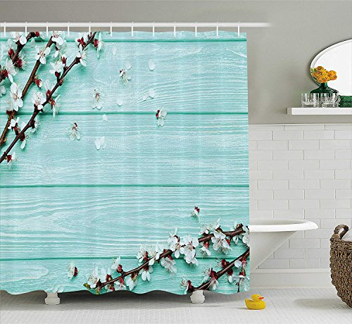 Mint Shower Curtain, Spring Cherry Blossom Petals Branch on Rustic Wooden Planks Seasonal Picture, Fabric Bathroom Decor Set with Hooks, 60x72 inches, White Brown Seafoam -