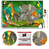 GREAT ART Papier Peint Photo de décoration motif Animaux de la Jungle pour Enfants par GREAT ART 336x238cm/ 132.3x93.7 pouces - Papier Peint 8 Unités plus colle incluse.