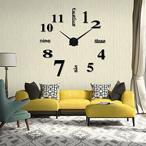 $ F-Fook Moderno Stile semplice FAI DA TE Grande 3D Autoadesivo della parete Orologio per Casa Ufficio Decorazione Nero Lettera e Numero Stile (Nero) miglior prezzo