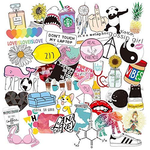Aufkleber für Wasserflaschen, Trendige niedliche wasserdichte ästhetische Vinyl-Graffiti-Aufkleber - Laptop und Wasserflasche Decals Sticker Pack für Mädchen Teens Frauen (46er Pack)
