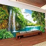 Benutzerdefinierte 3D Wandbild Tapete Wohnkultur Grün Berg Wasserfall Natur Landschaft 3D Foto Tapeten für Wohnzimmer Schlafzimmer 250cm(W) x175cm(H)