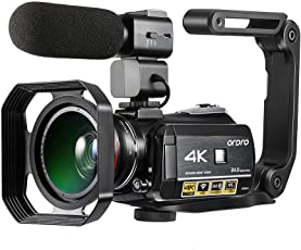 4K Camcorder ORDRO 4K Ultra HD 3.1 Zoll IPS Touchscreen WiFi Digitale Videokamera 30X Digital Zoom Nachtsicht Camcorder mit Mikrofon Weitwinkelobjektiv Gegenlichtblende und Handhalterung