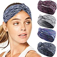 Sport Athletic Headband for Yoga Running Sports Travel, Workout Headbands for Women Men, 4 Pack
