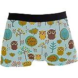 JIRT Uomo Boxer Slip Albero Cute Colorful Owl Underwear Maschio Tronchi Elasticizzati Traspiranti Bulge Pouch Soft Underpants