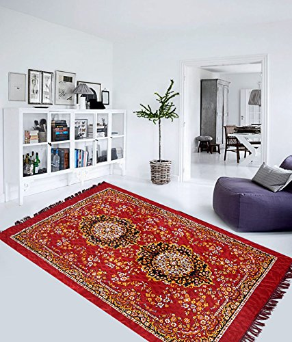 "Home Elite Traditional Abstract Polyester Carpet - 55""x80"", Red"