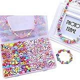Eizur Stringing Perlen Spiel Schnürsystem Perlen Beads Spielzeug DIY Perlenschmuck zum Basteln von Schmuck Ketten Armbändern für Kindertag Kinder Geschenk Typ H - 720 Beads