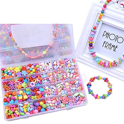 Eizur Bambini DIY Tesatura Perline Assortite Perle Ciondoli Differenti Multicolore con Scatola Fare Gioielli Braccialetti Necklace per Compleanno Christmas Festival Regalo Tipo H - 720 perline