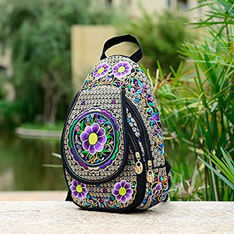 Ricamato etnica sacchi di tela da ricamo borsa a tracolla donna torace piccolo zaino borsa,Narcisi viola-tipo b - Bella Narciso
