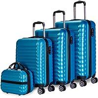 NEWTECK - Lot de 4 Valises (53/63/75cm) et Trousse de Toilette Blau, ABS, Rigide, Résistant, 4 Doubles Roues, Léger…