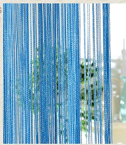 Hong - Cortina de flecos de 3 x 3 m para puertas, ventanas, divisor para patios y terrazas, cortina mosquitera de gran tamaño, 1 panel, color azul