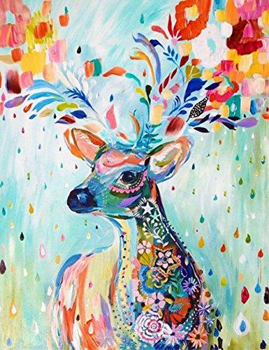 5D Diamant Kit DIY Kristall Diamant Strass Gemälde eingefügt Malen nach Zahlen Kits Kreuzstich Stickerei Bildern der Kristalle Stickdecken arts- (J-4 Color deer) (Kein Kleber Halloween-handwerk Einfach)