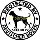 Hunde Aufkleber Deutscher BOXER Security Folienaufkleber Car-Sticker Ø150 mm
