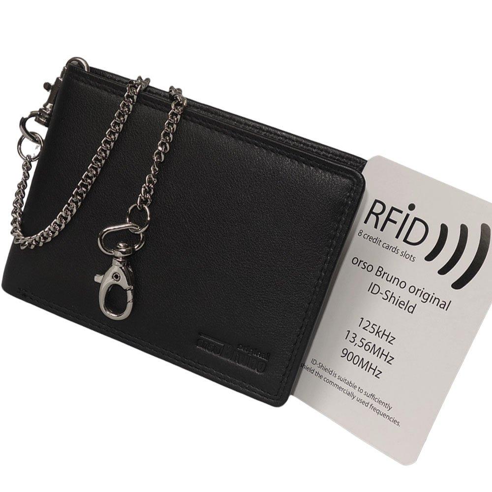 f100c3039d7725 Schwarze RFID NFC Herren Geldbörse mit Kette - Geldbeutel RFID Scheintasche  Brieftasche Bikerbörse mit Kette Kettenbörse