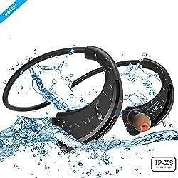 ZAAP (USA) AQUA FIT Bluetooth Waterproof Headphones {Award-winning Tech} IP-X5 with 4.1 Bluetooth Technology Universal Compatibility Wireless Headphone/Headset With Built-In Microphone (Black)