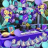 JOYMEMO Decorazioni di Compleanno Sirena per Ragazze con Sirena Nautica Rete da Pesca Cake Topper Ghirlanda per la Festa di Compleanno