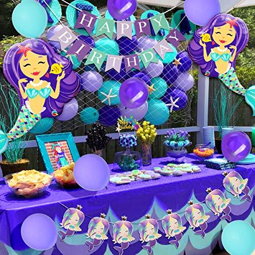 Decoraciones de cumpleaños de sirena para niñas con sirena de red de pesca...