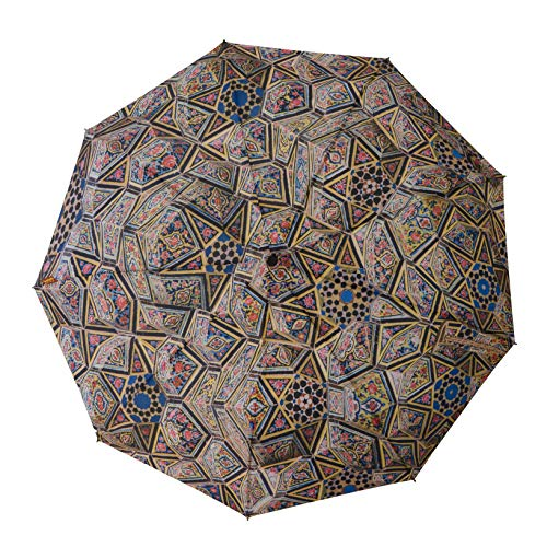 Baleh - ombrello tascabile con struttura persica, motivo iraniano, piccolo, leggero, antivento, rivestimento in teflon, 9 pezzi