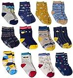 12 Paar Baby Jungen ABS Rutschfeste Socken Baumwolle mit Griffen, Kleinkind Anti-Rutsch Socken (12 Farben - Auto, Flugzeug, Mit dem fahrrad, Dinosaurier..., 3-5 Jahre - erfüllt von handelsschiffen)