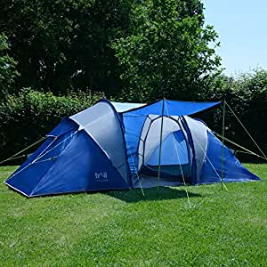 Trail 4 Man Family Tunnel Tent Awning Camping Festival Waterproof 3000mm HH