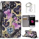 für iPhone 8 / 7 (4,7 Zoll) Hülle, Retro 3D Muster PU Leder Hülle Wallet Case Folio Schutzhülle in mit Standfunktion Karteneinschub und Etui Flip Case Schutzhüllen +Schlüsselanhänger (P) (5)