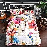 BEDSETAAA Bettwäsche Artikel Vier Stück Anzug Polyester Baumwolle 3D Digitaldruck Bettbezug Blatt Kissenbezug Dreamnet Serie 244x140cm roter Elch