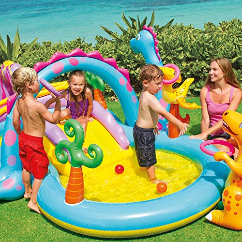 Image of Intex Dinosaur Water Play Center, Paddling Pool with Moveable Arch Water Spray. Perfect Large Activity Centre for Outdoor Family Summer Fun!