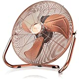 Brandson 48 W Ventilateur en design rétro/chrome | 38,5 cm de diamètre | Trois Vitesses Low - Medium - High | débit d'air élevé | tête du ventilateur réglable | métal solide | cuivre
