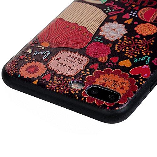 iPhone 7 / iPhone 8 Hülle,KASOS iPhone 7 / iPhone 8 Bunt Gemalt TPU Case Etui Handyhülle Schale Schutzhülle Protective Schützende Stoßdämpfung Cover,Kätzchen Flower Tower