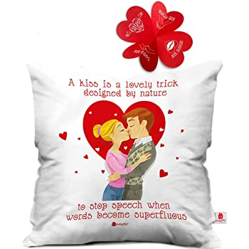 Buy Indibni Love Quote Kissing Couple With Hearts White Cushion