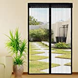 Extsud Magnetic Screen Door Polyester Magnetic Curtain Magic Paste Curtains Super Quiet Stripes