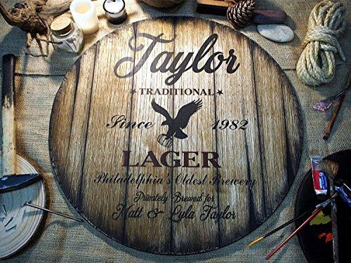 Personalisiertes Dekor Zeichen von alten Bierfässern | Weihnachtsgeschenk | Maßgefertigte Geschenke für Männer | Einzigartiger Ehemann, Papa, Bräutigam, Trauzeuge Geschenk (Antike Bier Zeichen)