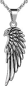 Feilok, collana con ciondolo da uomo a forma di ala di diavolo con piume di aquila in acciaio inox