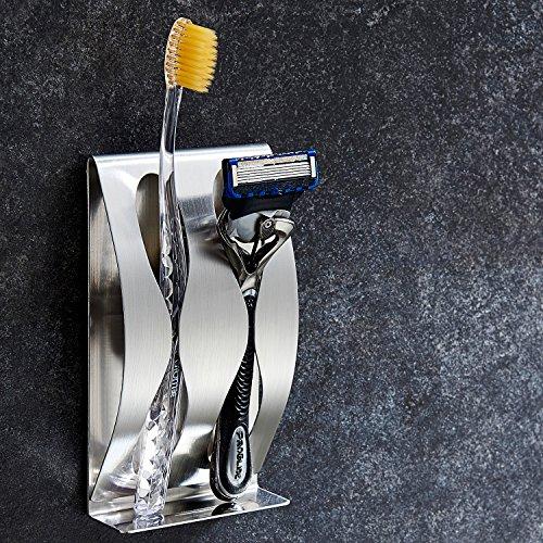 ZUNTO Zahnbürstenhalter Selbstklebende Zahnpasta mit Zahnbürstenhalter Edelstahl Ohne Bohren (2 Löcher)