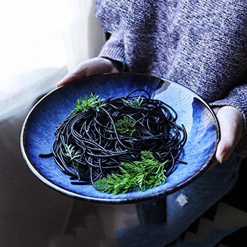 Vintage Blau Keramik Geschirr Große Kapazität Salatplatte Kreative Heimat Ramen Suppenschüssel
