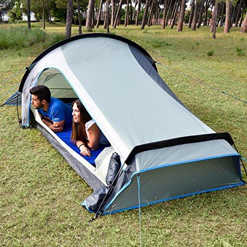 Skandika Kalix 2 - Tente de camping - 2 Personnes - Poids léger: 3,5 Kilos - 590 x 280 cm - Gris/Bleu