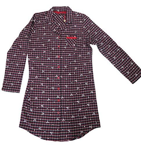 Jockey Damen Nachthemd Flanell blau rot kariert Blau